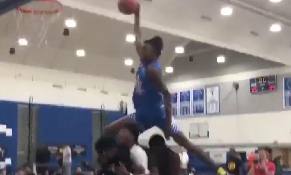 C.J. Walker dunks over four teammates (Photo: @overtime/Twitter screen shot)