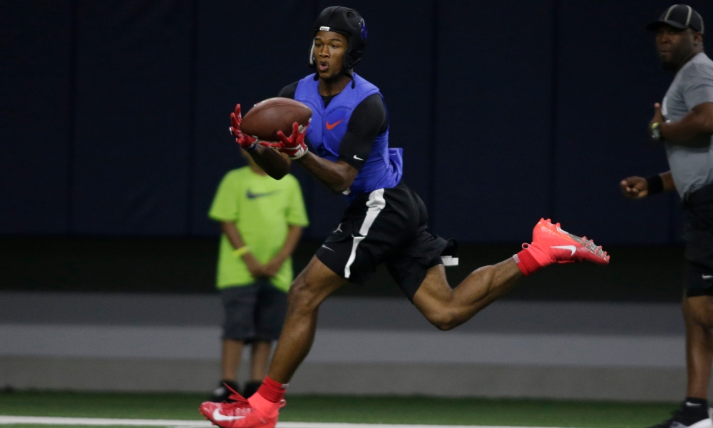 Wide receiver Garrett Wilson (5) in game action in a 7 on 7 playoff game at The Opening at the Star. (Photo by Tim Heitman/USA TODAY Sports Images)