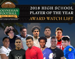 Polynesian High School Football Player of the Year Award Watch List announced