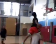 VIDEO: LeBron James Jr. teammate Mikey Williams is leaping over teammates on dunks