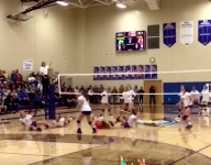 Watch: Volleyball player saves rally twice with kicks to defeat defending champs