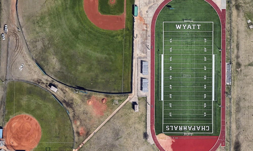 The football coach at Wyatt High School stands accused of using a racial epithet against one of his own players (Photo: Google Earth)