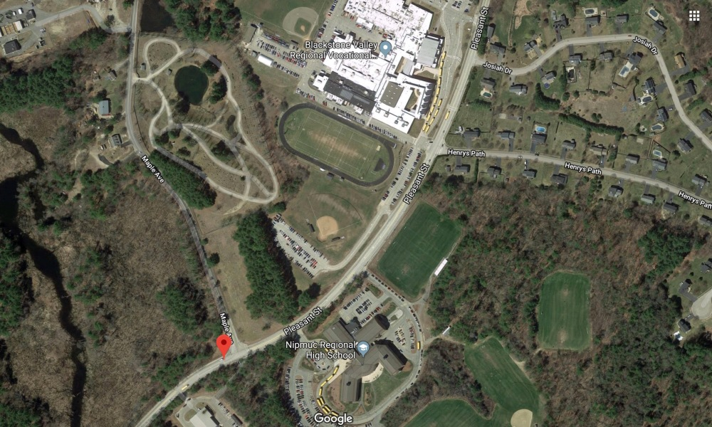 Blackstone Valley Regional Tech and Nipmuc Regional High Schools sit literally across the street from one another (Photo: Google Earth)