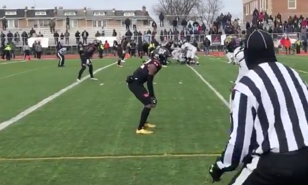 H.D. Woodson captured the 2018 DCIAA Turkey Bowl title in overtime (Photo: @MikeMurrilloWTOP/Twitter screen shot)