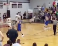 VIDEO: Mop crew needed after 1, 2, 3 players go sliding down the inbounds line