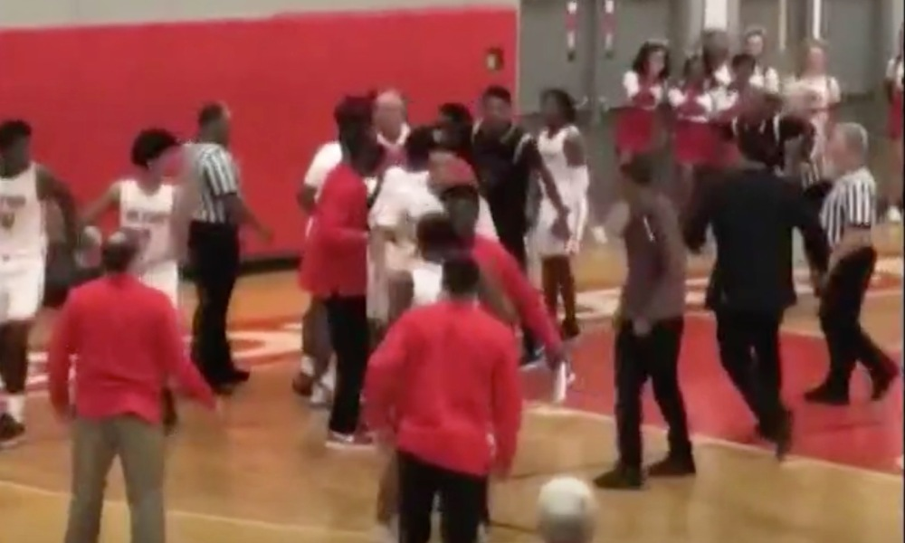 A brawl at an Alton HS boys basketball game led to charges and a potential 2-5 year jail term for one player (Photo: KSDK/video screen shot)