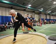 Hanover Park (East Hanover, N.J.) shot putter Rania Benatia showing strength in and out of circle