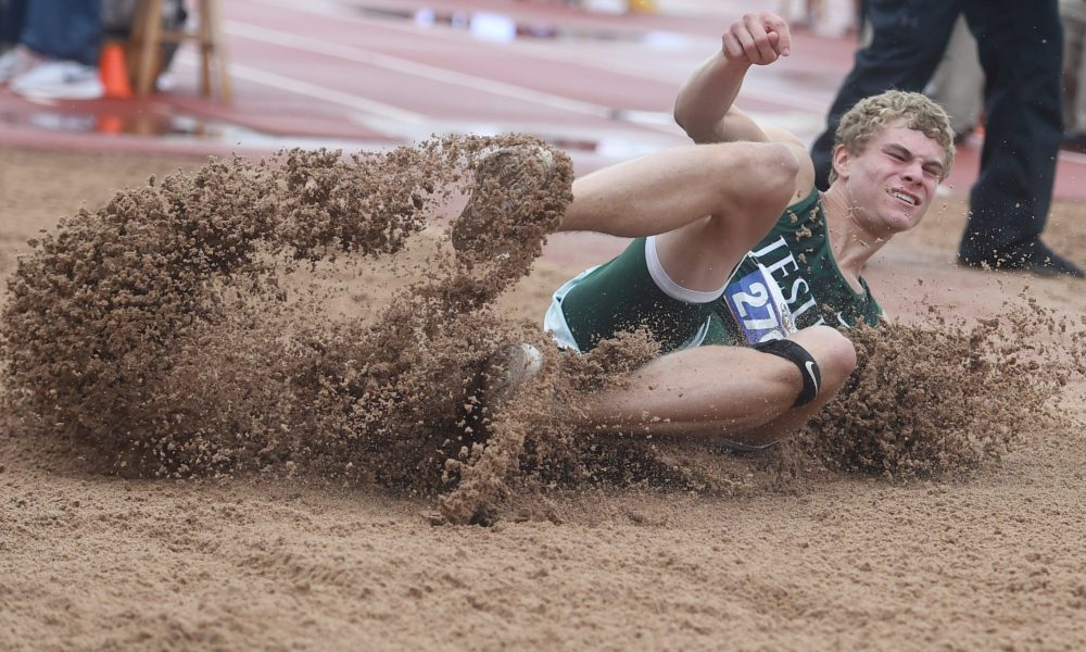 Strake Jesuit's Matthew Boling competes in long jump during the UIL State Track and Field meet