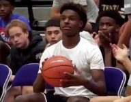 VIDEO: Bronny James hits Steph Curry-like shot sitting on bench