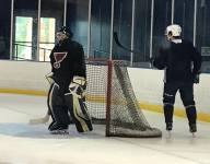 Hartland (Hartland Township, Michigan) goalie practices with Stanley Cup-winning Blues