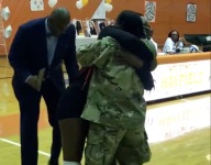 WATCH: Virginia high school volleyball player collapses in joy over return of military mom on Senior Night